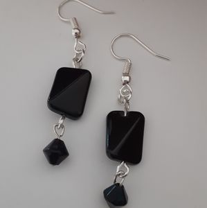 Jewelry - Silver And Black Beaded Dangle Earrings